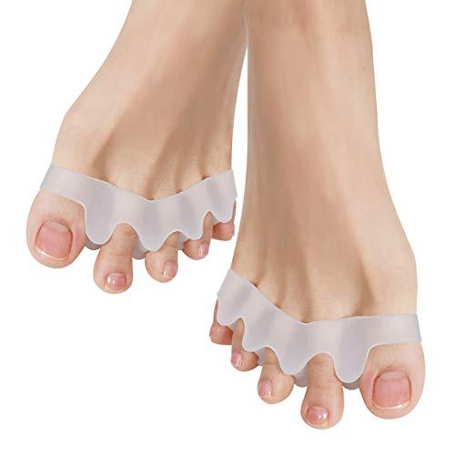 Gel Toe Separators, Toe Separators Spacers Straighteners Splint Aid Surgery Treatment, Bunion Corrector Suitable for Men and Women, Perfect Foot Care Tool (1 pair) (white 1)
