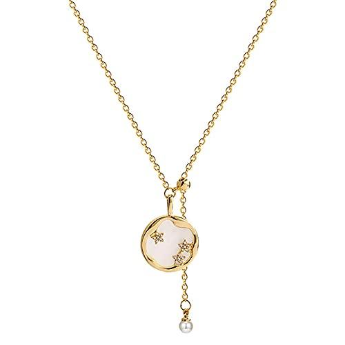 KINGVON Collar redondo con colgante de estrella, collar de perlas con cadena de clavícula simple estilo Ins, adornos de cumpleaños, regalo de joyería, oro