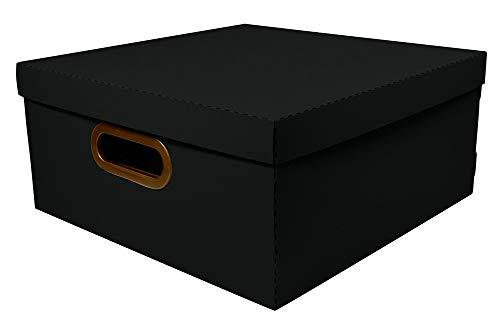 Caixa Organizadora Linho, 35x35x16 cm, Preto, Grande, Protea