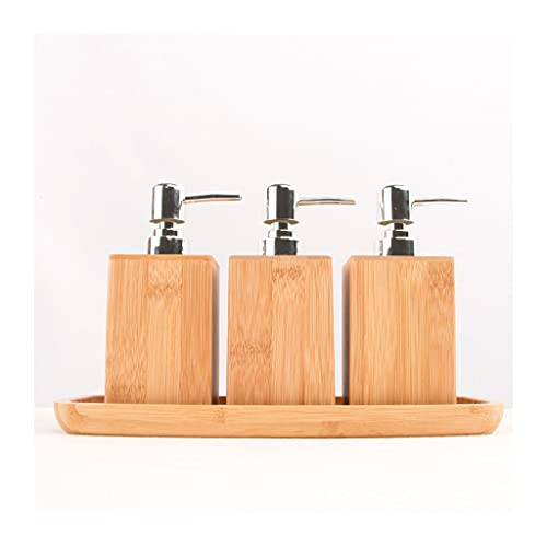 DIWA Dispensador de jabón Cuadrado de Madera Maciza, dispensador de jabón de encimera de baño con Bomba de jabón de Acero Inoxidable, 200 ml / 6.76oz (Color : 3 pcs+Tray)