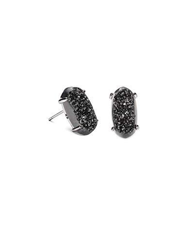 Kendra Scott Betty Stud Earrings in Black Drusy, Gunmetal Plated