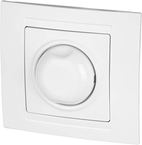UP - Regulador de intensidad giratorio (1000 W, marco + inserto empotrado + cubierta (serie M1), color blanco