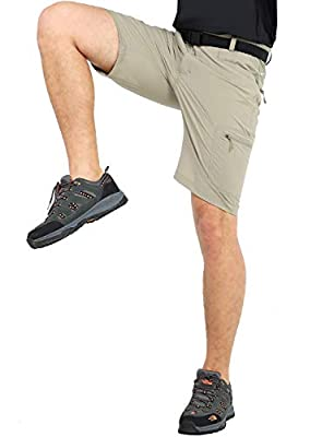 MIER Men's Quick Dry Hiking Shorts Lightweight Cargo Shorts with 6 Pockets, Stretchy, Water Resistant, 32, Rock Grey