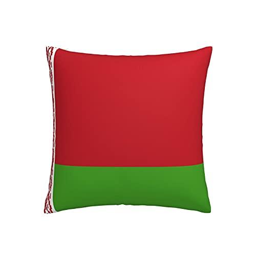 Kissenbezug mit Weißrussland-Flaggen, quadratisch, dekorativer Kissenbezug für Sofa, Couch, Zuhause, Schlafzimmer, für drinnen & draußen, niedlicher Kissenbezug 45,7 x 45,7 cm