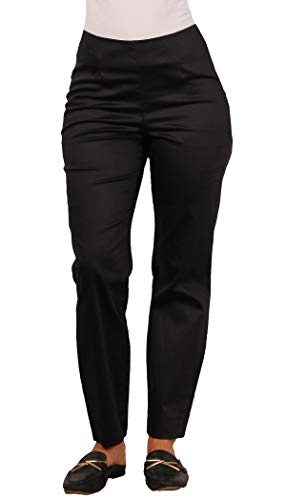 LARRY LEVINE Ladies Sateen Cotton Ankle Length Dress Pant, Black, Size 12