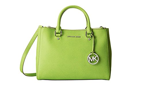 """13"""" W x 9"""" H x 5"""" D Interior features 2 side zip compartments, open compartment with zip pocket, 4 slip pockets and key fob Magnetic snap closure Logo medallion key chain; silver-tone hardware"""