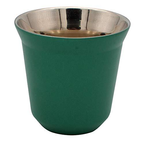 Dianoo Kaffeetasse Espressotassen Aus Edelstahl Doppelwandig Thermisch Isoliert Kapsel Kaffeebecher Grün