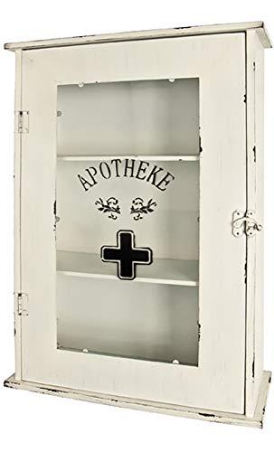 Haku Möbel Medizinschrank - Metall antik weiß lackiert - 3 Ablagen H 62 cm