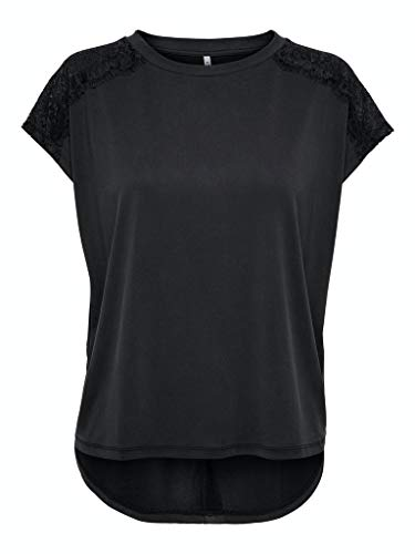 ONLY Womens ONLFREE Life S/S LACE TOP JRS Blouse, Black, S