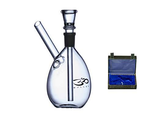 Black Cobra - Kofferbong - Glas Bong im praktischem Koffer - 14cm / Ø50mm - Kleine Kugel mit seitlichem Mundstück und Logo Aufdruck - 14,5mm Chillum Schliff - mit Kickloch und Chillum