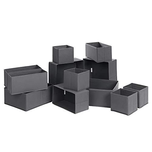 SONGMICS Aufbewahrungsboxen für Schublade, 12er Set, Unterwäsche-Organizer, Schubladen-Organizer, Stoffboxen für Socken, Unterwäsche, Krawatten und Schals, grau RDZ12G