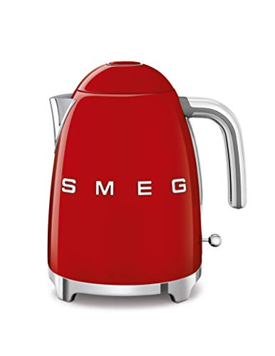 Smeg KLF03RDUS 50's Retro Style Aesthetic Electric Kettle with Embossed Logo, Red