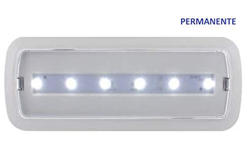 Luz de Emergencia PERMANENTE (Siempre Encendida). Con corriente 7w-600 Lumenes. Sin corriente 3w-200 Lumenes. A++