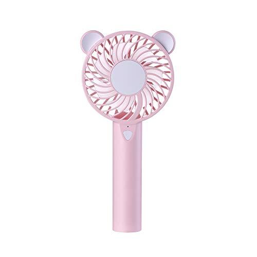 ZFLY Mini Mano Held Fan, Pieghevole Portatile Silenzioso Ventilatore con USB Ricaricabile, 7 Colori LED Fan Bear per Home Office Camera Outdoor Viaggi,Pink