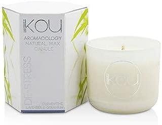 iKOU Eco-Luxury Aromacology Natural Wax Candle Glass - De-Stress (Lavender & Geranium) (2x2) inch