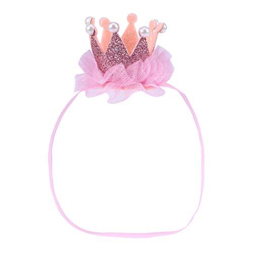 YeahiBaby Baby Krone Tiara Stirnband mit Spitze Perlen Glitter Geburtstagskrone Prinzessinkron Haarband Foto Requisiten (Rosa)