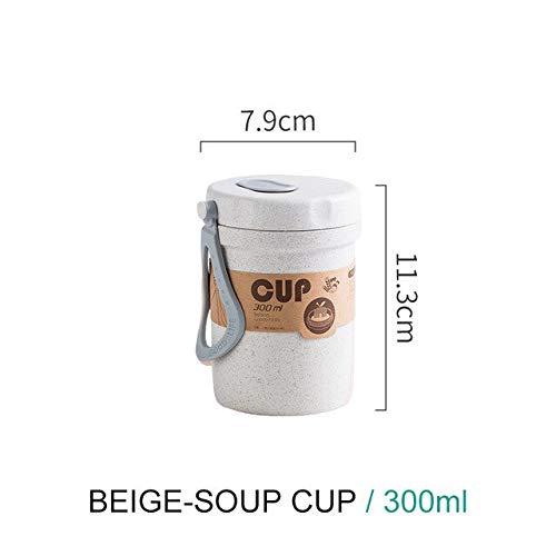 Fiambrera portátil de Material Saludable de 900 ml Cajas bento de Paja de Trigo de 3 Capas Vajilla para microondas Contenedor de Almacenamiento de Alimentos Foodbox - Beige B