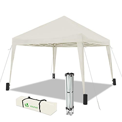 VOUNOT Faltpavillon 3x3m Wasserdicht, mit 4 Sandsäcke, Pop Up Pavillon Faltbar, UV-Schutz 50+, Cremeweiß