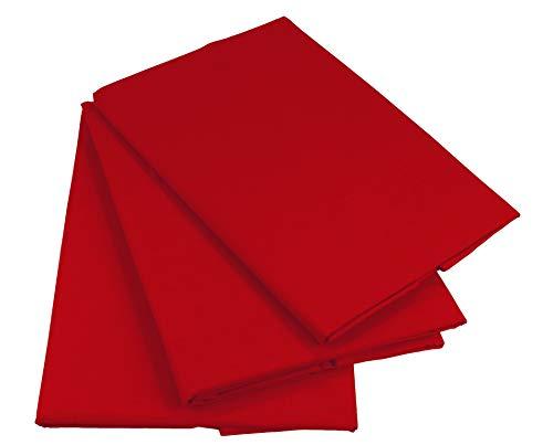 KMP know how in modern printing Bettlaken Betttuch Haustuch 100% Baumwolle ohne Gummizug viele Uni Farben (160 x 200 cm, Rot)