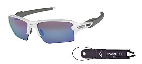 Oakley Flak 2.0 XL OO9188 918882 59M Polished White/Prizm Deep H2o Polarized Sunglasses For Men+BUNDLE with Oakley Accessory Leash Kit