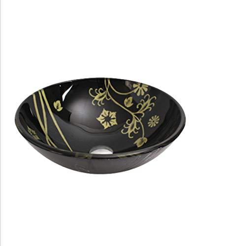LHFJ Artistieke scheepskuip, gehard glas, landelijke stijl, bloemblaadjes, wastafel, wastafel, met pop-up-drainset, zwart