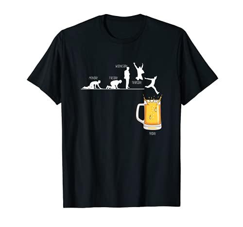 Hombre Días De La Semana Viernes Cerveza Alcohol Fiesta Pub Regalo Camiseta