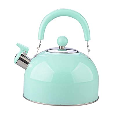 Tea Kettle Stovetop Teapot Food Grade Stainless Steel Teapot Whistling, with Touch Ergonomic Handle and Straight Pour Spout, Anti-Hot Handle and Anti-Rust, Suitable for All Heat Sources,Green