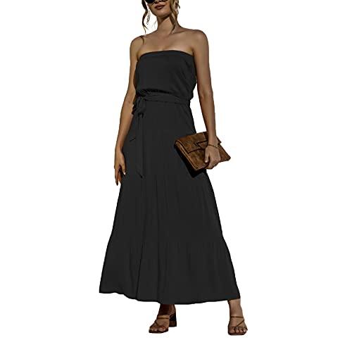 Vestido De Una Pieza con Top De Tubo De Primavera Y Verano Vestido De Cintura Sin Mangas con Cintura