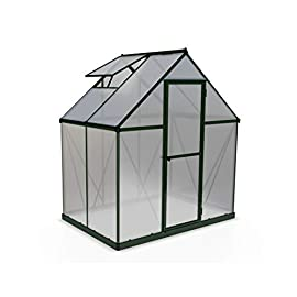Palram Mythos Hobby Greenhouse 1 Dimensions: 6' x 10' x 7' Virtually unbreakable 4 mm twin-wall polycarbonate panels block up to 99.9% of UV rays and diffuse sun light eliminating the risk of plant burn and shade areas Includes adjustable roof vent, rain gutters, lockable door handle with magnetic door catch and a galvanized steel base for structural support