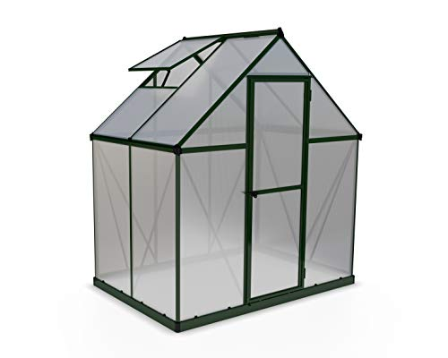Palram HG5005G Mythos Hobby Greenhouse, 6' x 4' x 7', Forest Green 1 Dimensions: 6' x 10' x 7' Virtually unbreakable 4 mm twin-wall polycarbonate panels block up to 99.9% of UV rays and diffuse sun light eliminating the risk of plant burn and shade areas Includes adjustable roof vent, rain gutters, lockable door handle with magnetic door catch and a galvanized steel base for structural support