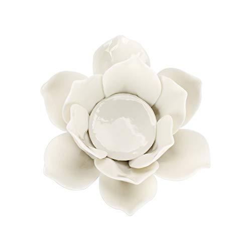 Sumree - Portacandela in ceramica con fiore di loto, candelabro decorativo da tavolo, colore: Bianco + Rosa