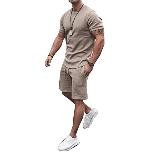 Traje De Pantalones Cortos De Manga Corta De Verano para Hombre Traje Deportivo De Ocio Camiseta De Hombre + Pantalones Cortos De Ocio Conjunto De 2 Piezas