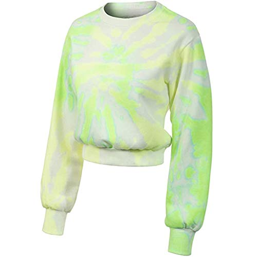 Shaohan Camiseta de manga larga para mujer Tie Dye suéter de manga larga con cuello redondo, blusa para el ombligo, con degradado de color verde menta 46