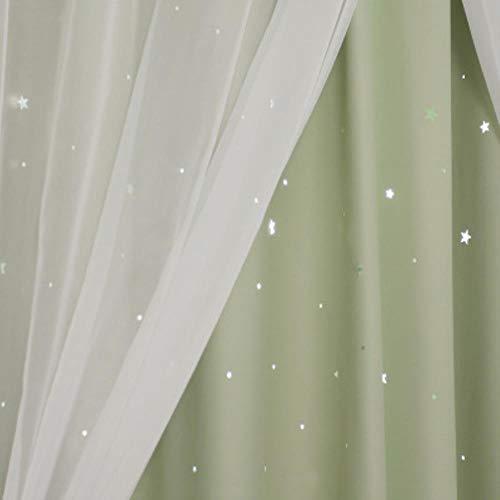 CTOBB Romantische Sterne Fenstervorhänge für Wohnzimmer Schlafzimmer Kinderzimmer Hochzeit Pink Voile Tüll Vorhang Doppelschicht Verdunkelungsvorhänge, 1 Stück Grün, B100cmxH200cm 1St