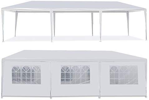 Heavy Duty Canopy Event Tent-10'x30' Outdoor White Gazebo Party Wedding Tent, Sturdy Steel Frame Shelter w/8 Removable Sidewalls Waterproof Sun Snow Rain Shelter Tent (10' x 30' with 8 sidewalls)