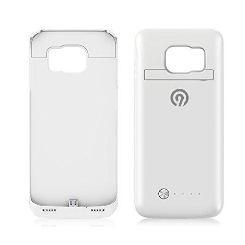 NINETEC 4200mAh Power Case + Schutzhülle 2in1 mit Akkufunktion Power Bank Zusatzakku für Samsung Galaxy S6 Edge Weiß