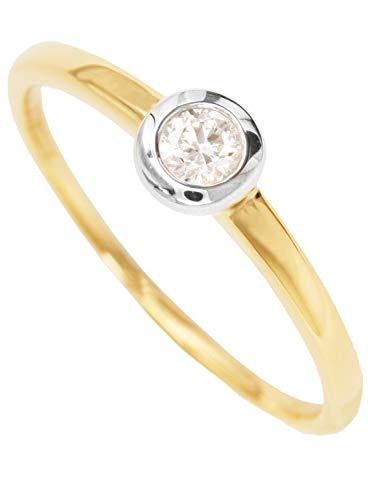 MyGold Verlovingsring voor dames, geelgoud, 375 goud, 9 karaat, glanzend, met zirkonia, briljant geslepen, solitair, huwelijksaanzoek, verloving, gouden ring, geschenken voor vrouwen, Gamma MOD-07066
