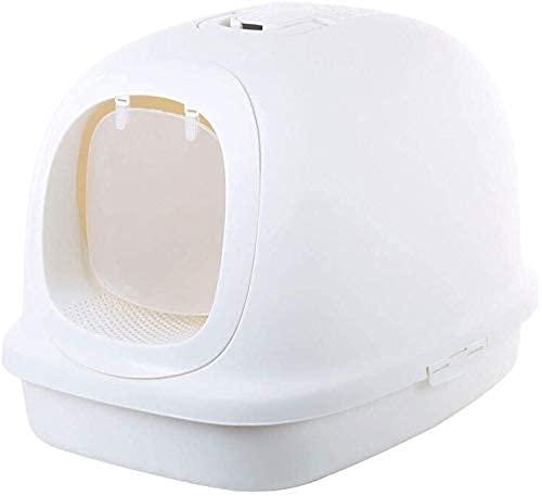 wangYUEQ Caja Extra Grande Caja de Arena Lujo Total de Lujo Aseo Suministros para Mascotas de 10 kg Cuenca de Arena Disponible de Grasa (Color: Marrón) (Color : White)