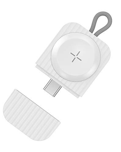 USB C Apple Watch ワイヤレス充電器 アップルウォッチ 磁気充電器 マグネット式 キーホルダー式 充電器 コンパクト 携帯 Apple Watch Series 5 / 4 / 3 / 2 / 1対応 (TYPE C 白い)