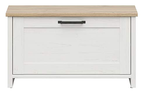 BOARDD - Zapatero para pasillo y zapatero con tapa abatible, color blanco y pino/nieto de roble (85 x 49 x 37 cm)