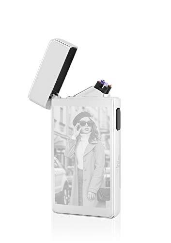 TESLA Lighter T13 Lichtbogen Feuerzeug mit Fotogravur Foto selber gestalten Bildgravur personalisierbar USB Aufladbar Elektro Sturmfest Plasma Doppel-Lichtbogen (Silber)