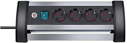 Brennenstuhl Alu-Office-Line, Steckdosenleiste 4-fach aus Aluminium für den Schreibtisch (mit Schalter und 1,8m Kabel) silber/schwarz