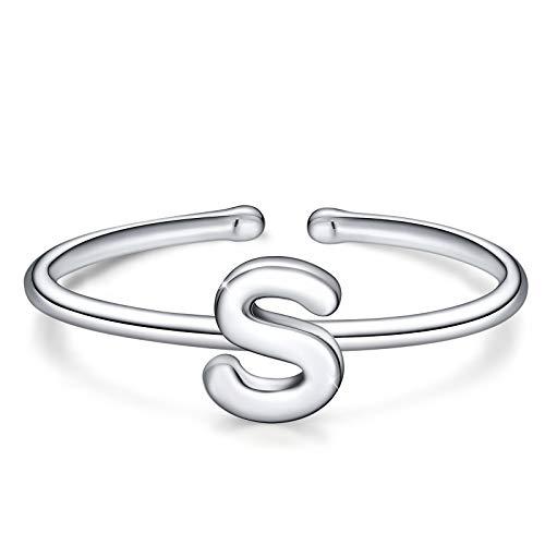 Simpgirl, anello con lettera, in argento Sterling 925, aperto, regolabile, con iniziali dell'alfabeto A-Z, anelli per donne, ragazze e bambini e Argento, colore: s, cod. A