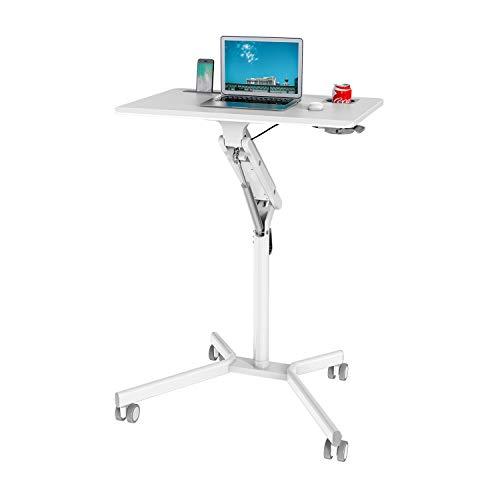 hjh OFFICE 802114 VM-SU I - Mesa de pie para portátil (altura regulable, con ruedas y muelle de gas, altura hasta 105 cm), color blanco