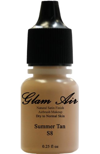 Glam Air Airbrush Makeup Foundation S8 Summer Tan Satin Foundation Water Based Makeup (976) (Idéal for Normal To Dry Skin) by glamair