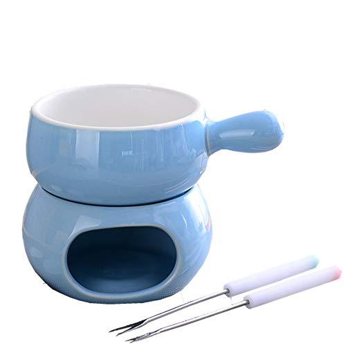 AIPZDJ 300ML Schokoladenbrunnen Bunt Keramik Fondue einstellen Käse Wärmer Schokolade Eiscreme Topf mit 2 Gabel zum Zuhause Weihnachten Küche,Blau