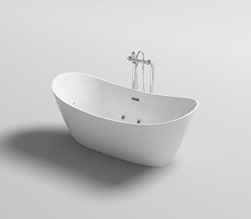 Supply24 since 2004 Freistehende Luxus Whirlpool Badewanne Orlando mit 12 Massage Düsen + LED Beleuchtung Wanne freistehend Hot Tub Spa Indoor/innen für 2 Personen (Ohne Armatur)
