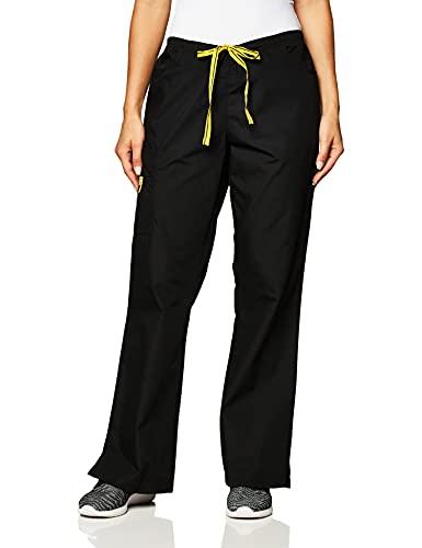 WonderWink Women's Flare Leg Cargo Pant, Black, Large