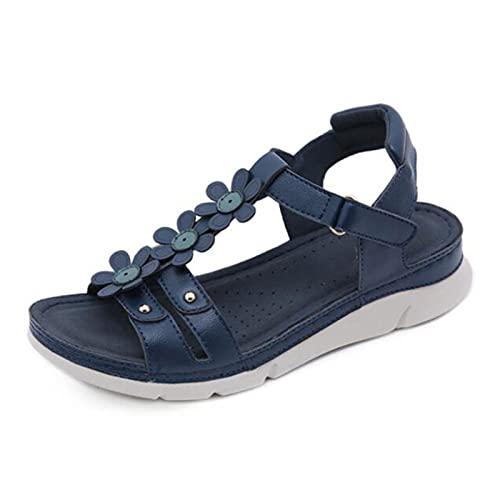 LYNLYN Sandalias Fashion Bohemian Beach Shoes Mujer Sandalias Estilo de Verano Zapatos de Flores Sandalias Planas Sandalias Sandalias de Mujer (Color : Brown, Size : 36 EU)