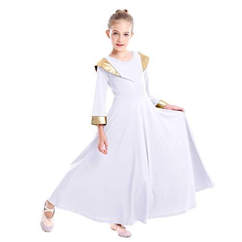 Girls V Shawl Cape Collar Praise Dance Dress Metallic Bi Color Bell Long Sleeve Liturgical Worship Costume Church Robe Easter Outfit Christmas Performance Dresses White + Gold 3-4 Years